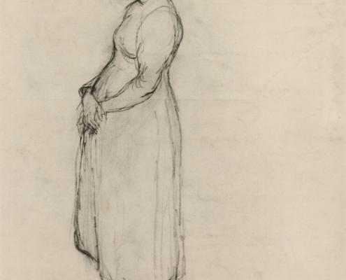 Sepp Orgler - Schwangeres Mädchen stehend, 1938 Kohle