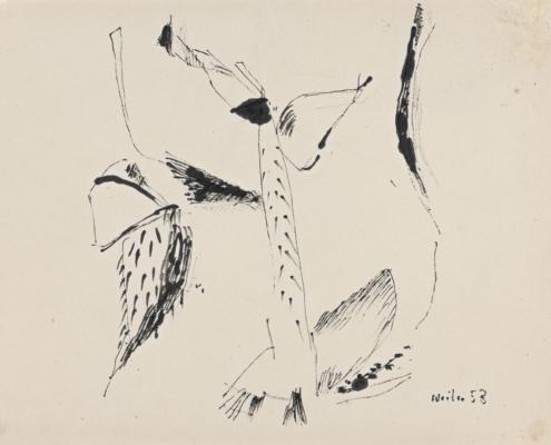 Max Weiler - Naturformen V, 1953 Tusche