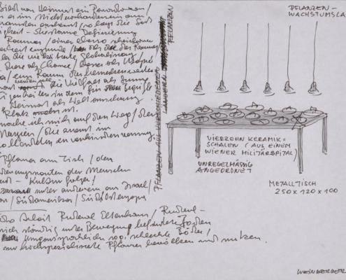 """Weinberger Lois - Originalzeichnung zum Objekt """"Ohne Titel"""", 1998 Kugelschreiber, Aquarell auf Papier"""